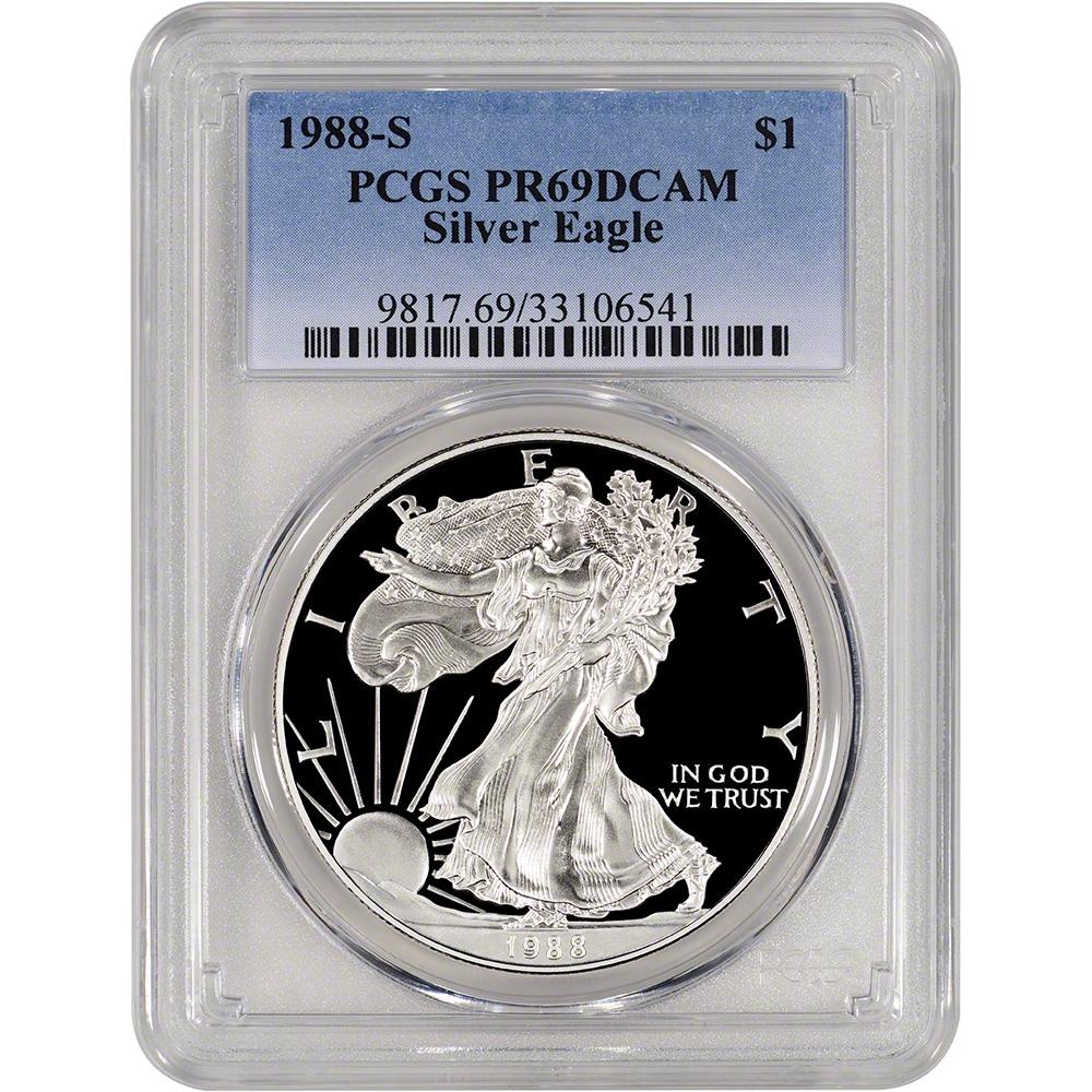 1988-S American Silver Eagle Dollar PR69DCAM PCGS Proof 69 Deep Cameo