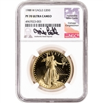 1988 W American Gold Eagle Proof 1 oz $50 - NGC PF70 UCAM Castle Signed