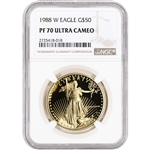 1988-W American Gold Eagle Proof (1 oz) $50 - NGC PF70 UCAM