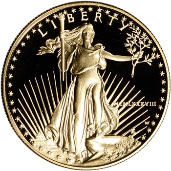1988-W American Gold Eagle Proof 1 oz $50 - Coin in Capsule