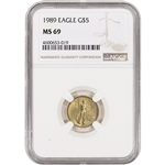 1989 American Gold Eagle 1/10 oz $5 - NGC MS69