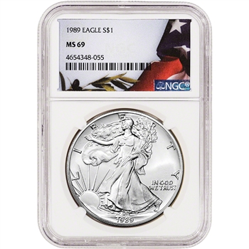 1989 American Silver Eagle - NGC MS69 - Flag Label