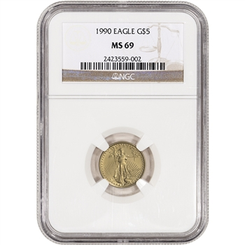 1990 American Gold Eagle (1/10 oz) $5 - NGC MS69