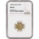 1990 American Gold Eagle 1/10 oz $5 - NGC MS69
