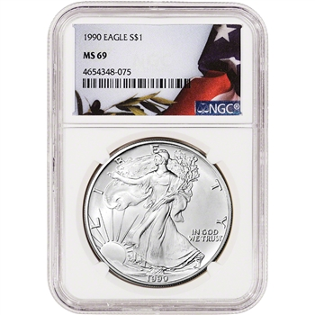 1990 American Silver Eagle - NGC MS69 - Flag Label