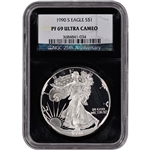 1990-S American Silver Eagle Proof - NGC PF69UCAM - 'Retro' Black Core