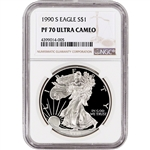 1990-S American Silver Eagle Proof - NGC PF70 UCAM
