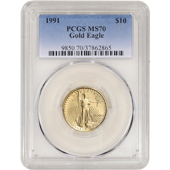 1991 American Gold Eagle 1/4 oz $10 - PCGS MS70