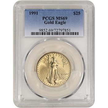 1991 American Gold Eagle 1/2 oz $25 - PCGS MS69