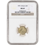 1991 American Gold Eagle (1/10 oz) $5 - NGC MS69