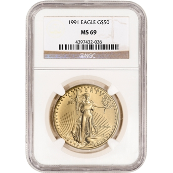 1991 American Gold Eagle 1 oz $50 - NGC MS69