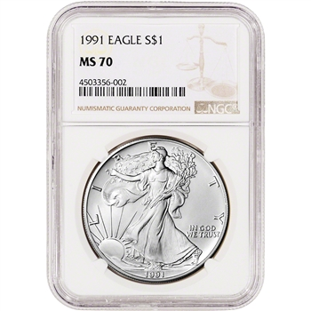 1991 American Silver Eagle - NGC MS70