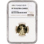 1991-P American Gold Eagle Proof (1/4 oz) $10 - NGC PF70 UCAM