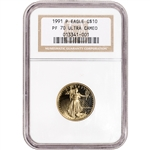 1991-P American Gold Eagle Proof 1/4 oz $10 - NGC PF70 UCAM
