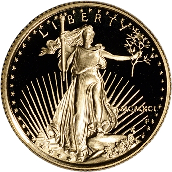 1991-P American Gold Eagle Proof 1/4 oz $10 - Coin in Capsule