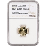 1991-P American Gold Eagle Proof (1/10 oz) $5 - NGC PF69 UCAM