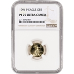 1991-P American Gold Eagle Proof (1/10 oz) $5 - NGC PF70 UCAM