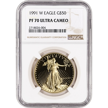 1991-W American Gold Eagle Proof (1 oz) $50 - NGC PF70 UCAM