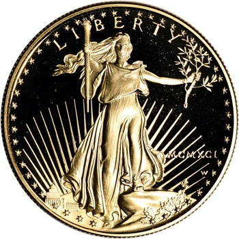 1991-W American Gold Eagle Proof 1 oz $50 - Coin in Capsule