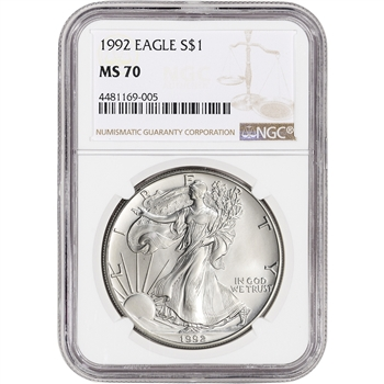 1992 American Silver Eagle - NGC MS70