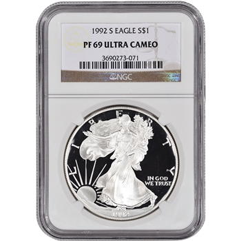1992-S American Silver Eagle Proof - NGC PF69UCAM