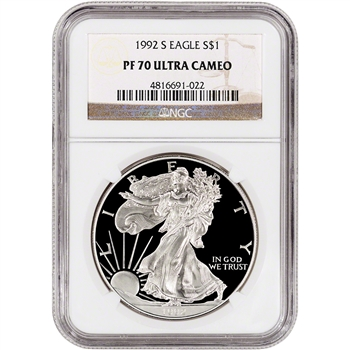 1992-S American Silver Eagle Proof - NGC PF70 UCAM