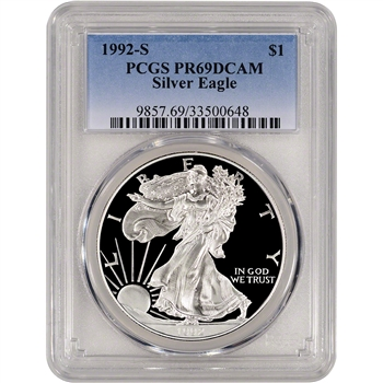 1992-S American Silver Eagle Proof - PCGS PR69DCAM