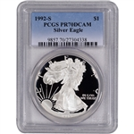 1992-S American Silver Eagle Proof - PCGS PR70 DCAM