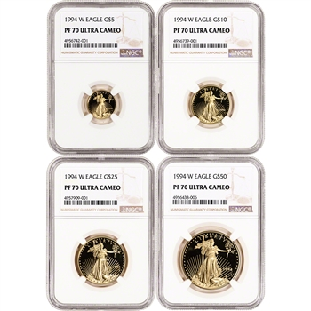 1994-W American Gold Eagle Proof 4-pc Year Set - NGC PF70 UCAM