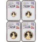 1995-W American Gold Eagle Proof 4-pc Year Set - NGC PF70 UCAM Castle Signed
