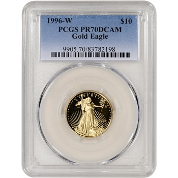 1996-W American Gold Eagle Proof 1/4 oz $10 - PCGS PR70 DCAM