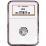 1997 American Platinum Eagle 1/10 oz $10 - NGC MS70