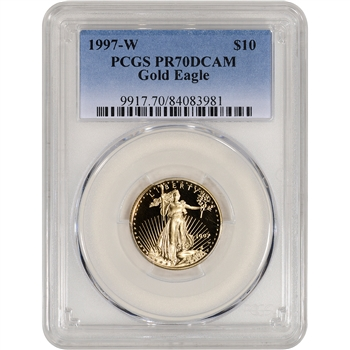 1997-W American Gold Eagle Proof 1/4 oz $10 - PCGS PR70 DCAM