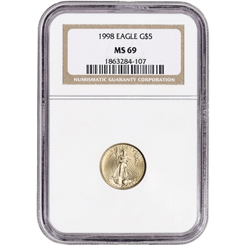 1998 American Gold Eagle (1/10 oz) $5 - NGC MS69