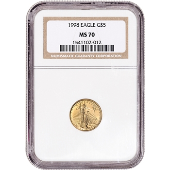 1998 American Gold Eagle 1/10 oz $5 - NGC MS70