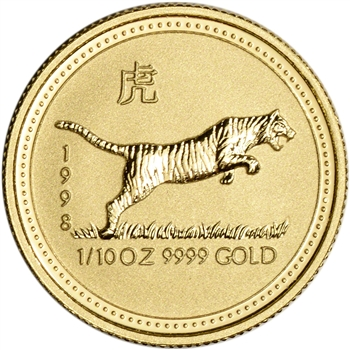 1998 Australia Gold Lunar Series I Year of the Tiger 1/10 oz $15 - BU
