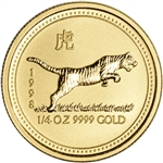 1998 Australia Gold Lunar Series I Year of the Tiger 1/4 oz $25 - BU
