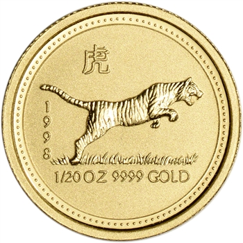 1998 Australia Gold Lunar Series I Year of the Tiger 1/20 oz $5 - BU