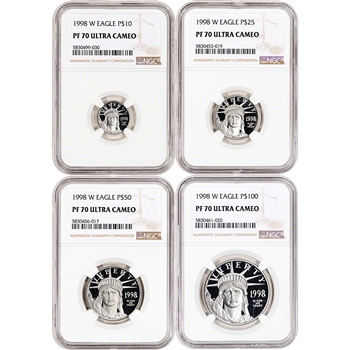 1998 W American Platinum Eagle Proof Four Coin Set NGC PF70 UCAM