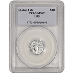 1999 American Platinum Eagle 1/10 oz $10 - PCGS MS69