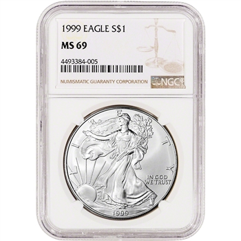 1999 American Silver Eagle - NGC MS69 - NGC Large Label