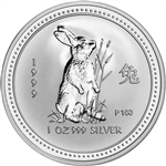 1999 P Australia Silver Lunar Series I Year of the Rabbit 1 oz $1 - BU