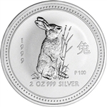 1999 P Australia Silver Lunar Series I Year of the Rabbit 2 oz $2 - BU