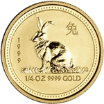 1999 Australia Gold Lunar Series I Year of the Rabbit 1/4 oz $25 - BU