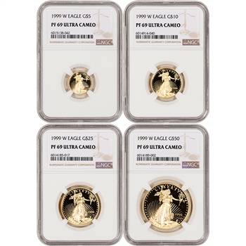 1999-W American Gold Eagle Proof 4-pc Year Set - NGC PF69 UCAM