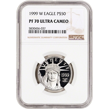 1999 W American Platinum Eagle Proof 1/2 oz $50 - NGC PF70 UCAM