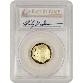 2014-W US Gold $5 Baseball Proof - PCGS PR70 - HOF Label - Rickey Henderson