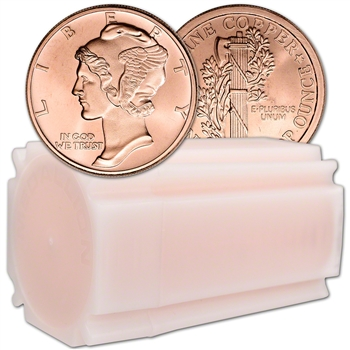 1 oz. Golden State Mint Copper Round Mercury Dime .999 Fine Tube of 20