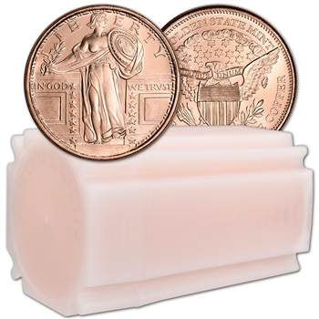 1 oz. Golden State Copper Round Standing Liberty Quarter .999 Fine Tube of 20