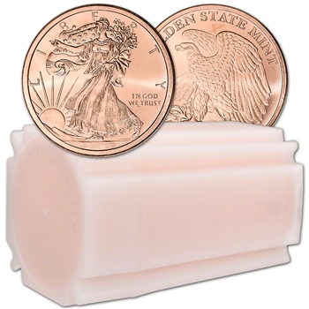 1 oz. Golden State Mint Copper Round Walking Liberty .999 Fine Tube of 20